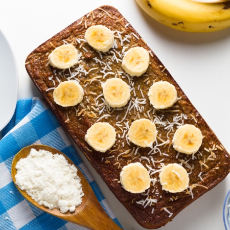 Vegan banana bread with coconut and chia