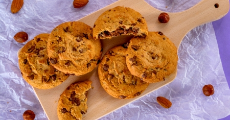 Vegan cookies made from dairy free chocolate and almond alternatives